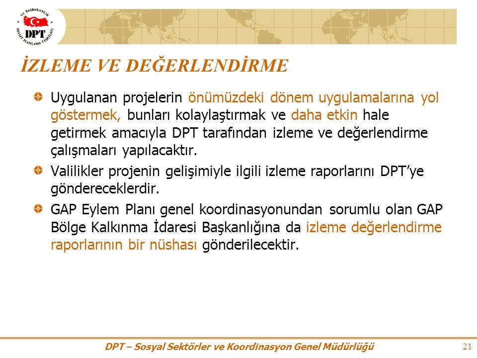 DPT – Sosyal Sektörler ve Koordinasyon Genel Müdürlüğü 21 Uygulanan projelerin önümüzdeki dönem uygulamalarına yol göstermek, bunları kolaylaştırmak ve daha etkin hale getirmek amacıyla DPT tarafından izleme ve değerlendirme çalışmaları yapılacaktır.