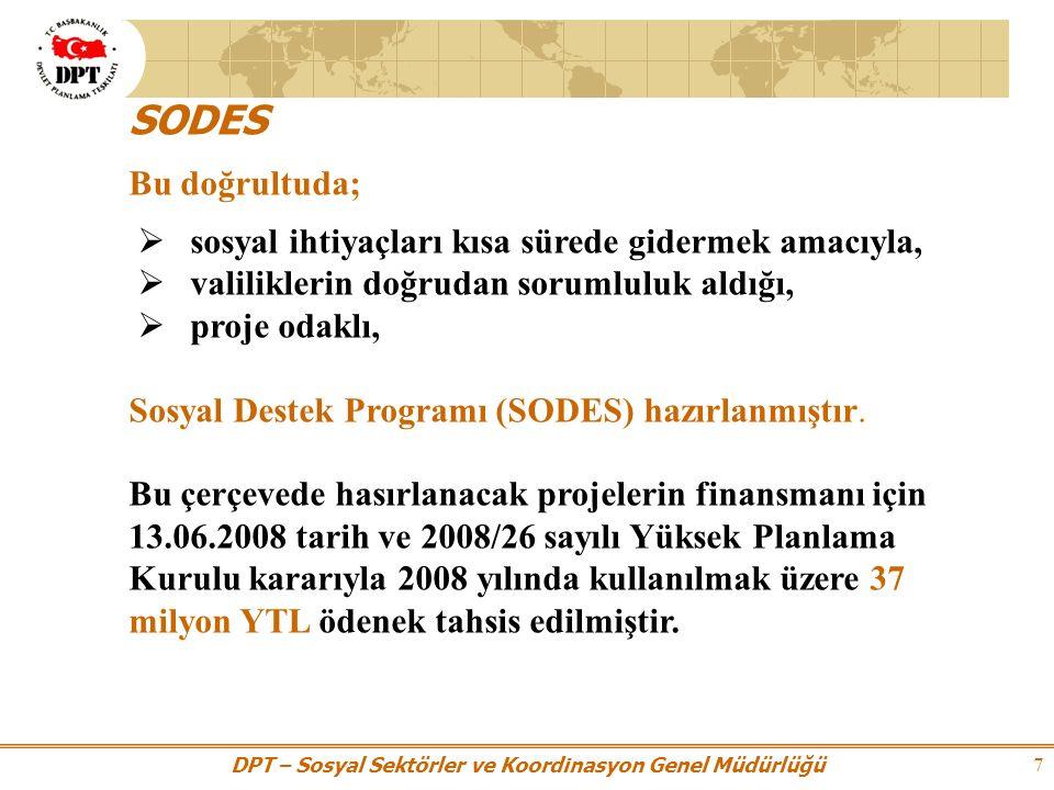 DPT – Sosyal Sektörler ve Koordinasyon Genel Müdürlüğü 8 SODES'in amacı S osyal restorasyon sürecine katkı sağlamak üzere bölgenin beşeri sermayesinin güçlendirilmesi hedeflenmektedir.