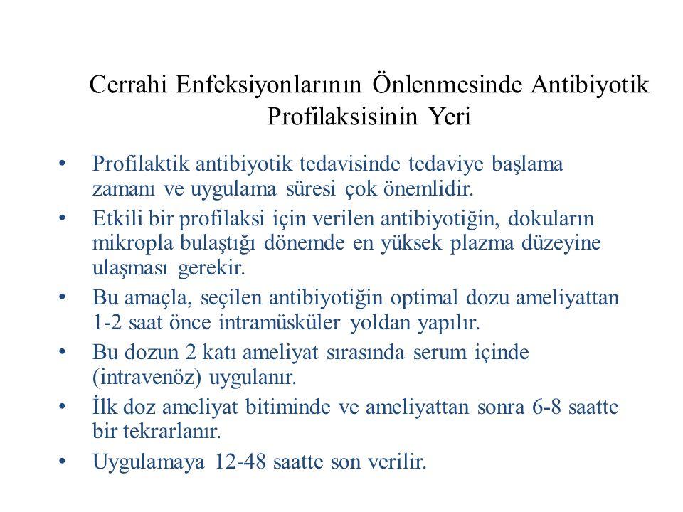 Cerrahi Enfeksiyonlarının Önlenmesinde Antibiyotik Profilaksisinin Yeri Profilaktik antibiyotik tedavisinde tedaviye başlama zamanı ve uygulama süresi