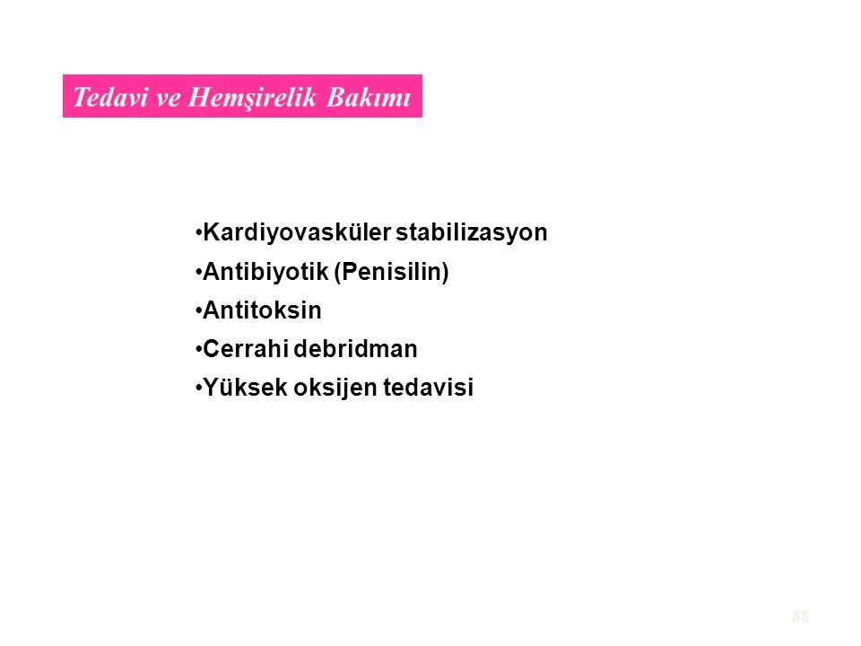 88 Tedavi ve Hemşirelik Bakımı Kardiyovasküler stabilizasyon Antibiyotik (Penisilin) Antitoksin Cerrahi debridman Yüksek oksijen tedavisi
