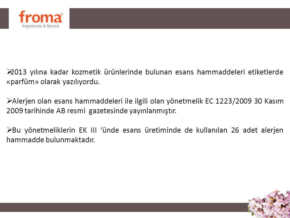  Amyl cinnamal (CAS No 122-40-7)  Benzyl alcohol (CAS No 100-51-6)  Cinnamyl alcohol (CAS No 104-54-1)  Citral (CAS No 5392-40-5)  Eugenol (CAS No 97-53-0)  Hydroxy-citronellal (CAS No 107-75-5)  Isoeugenol (CAS No 97-54-1)  Amylcinnamyl alcohol (CAS No 101-85-9)  Benzyl salicylate (CAS No 118-58-1)  Anisyl alcohol (CAS No 105-13-5)  Benzyl cinnamate (CAS No 103-41-3)  Farnesol (CAS No 4602-84-0)  Hydroxy-methylpentylcyclohexenecarboxaldehyde (CAS No 31906-04-4)  2-(4-tert-Butylbenzyl) propionaldehyde (CAS No 80-54-6)  Linalool (CAS No 78-70-6)  Benzyl benzoate (CAS No 120-51-4)  Citronellol (CAS No 106-22-9)  Hexyl cinnamaldehyde (CAS No 101-86-0)  d-Limonene (CAS No 5989-27-5)  Methyl heptin carbonate (CAS No 111-12-6)  3-Methyl-4-(2,6,6-tri-methyl-2-cyclohexen-1-yl)-3-buten-2-one (CAS No 127-51-5)  Oak moss and treemoss extract (CAS No 90028-68-5)  TreeCinnamal (CAS No 104-55-2)  Coumarin (CAS No 91-64-5)  Geraniol (CAS No 106-24-1)  Moss extract (CAS No 90028-67-4) 26 ALERJEN
