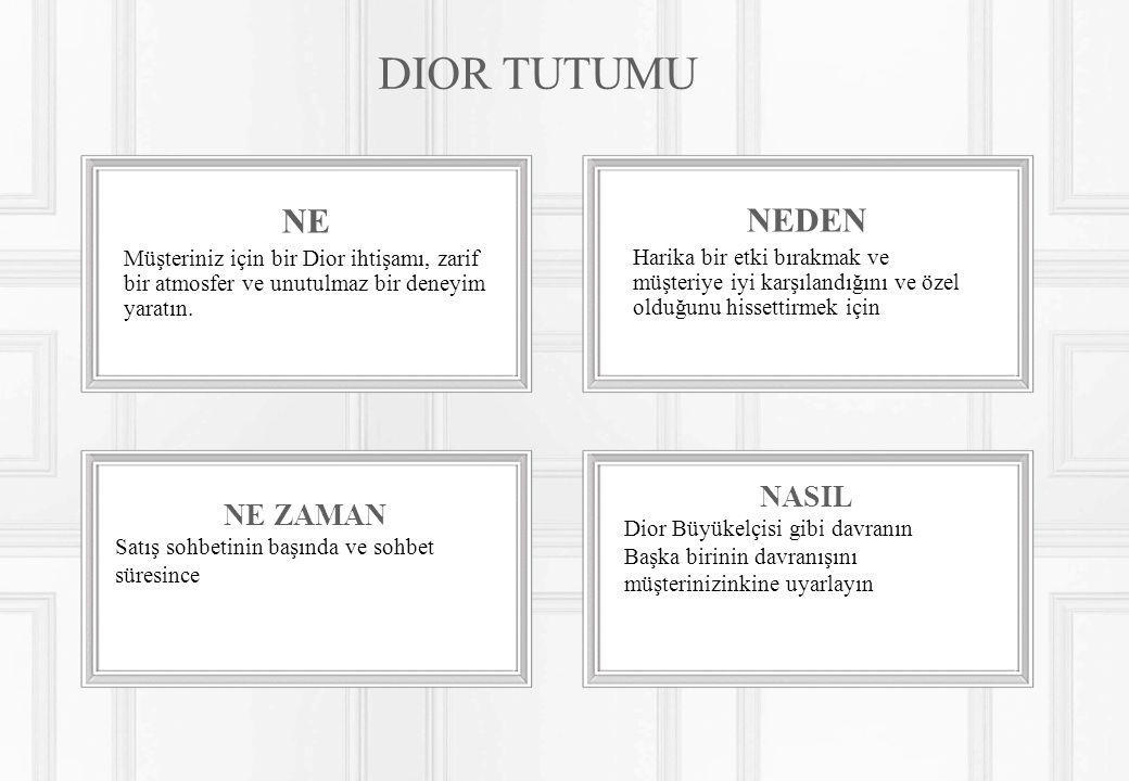 NE ZAMAN Satış sohbetinin başında ve sohbet süresince NASIL Dior Büyükelçisi gibi davranın Başka birinin davranışını müşterinizinkine uyarlayın DIOR TUTUMU NE Müşteriniz için bir Dior ihtişamı, zarif bir atmosfer ve unutulmaz bir deneyim yaratın.