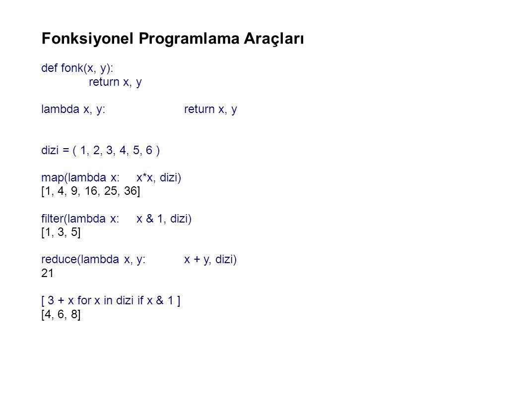 Fonksiyonel Programlama Araçları def fonk(x, y): return x, y lambda x, y:return x, y dizi = ( 1, 2, 3, 4, 5, 6 ) map(lambda x:x*x, dizi) [1, 4, 9, 16, 25, 36] filter(lambda x: x & 1, dizi) [1, 3, 5] reduce(lambda x, y:x + y, dizi) 21 [ 3 + x for x in dizi if x & 1 ] [4, 6, 8]