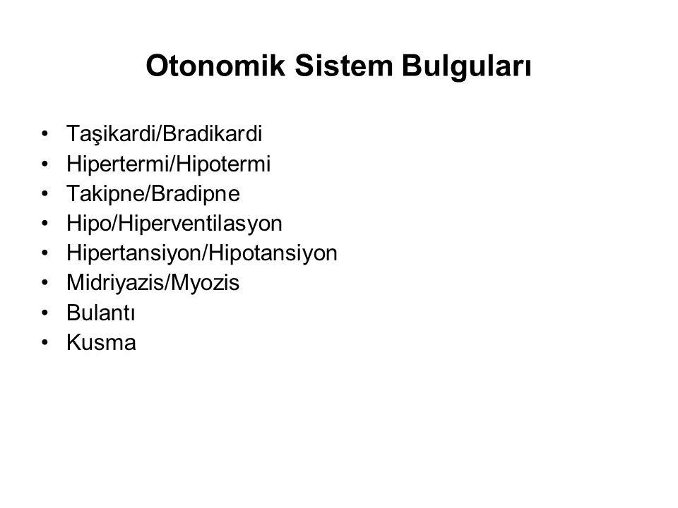 Otonomik Sistem Bulguları Taşikardi/Bradikardi Hipertermi/Hipotermi Takipne/Bradipne Hipo/Hiperventilasyon Hipertansiyon/Hipotansiyon Midriyazis/Myozi