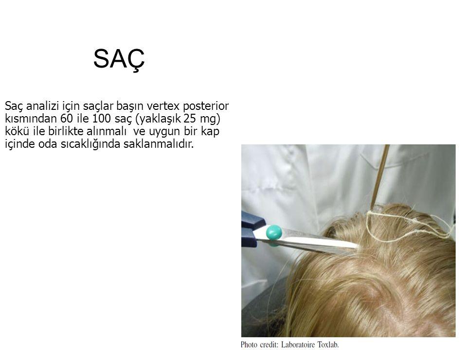 SAÇ Saç analizi için saçlar başın vertex posterior kısmından 60 ile 100 saç (yaklaşık 25 mg) kökü ile birlikte alınmalı ve uygun bir kap içinde oda sıcaklığında saklanmalıdır.