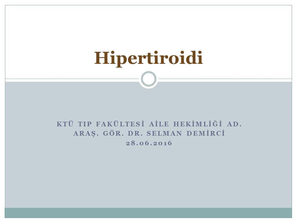 Amaç Hipertiroidi hakkında bilgi vermek