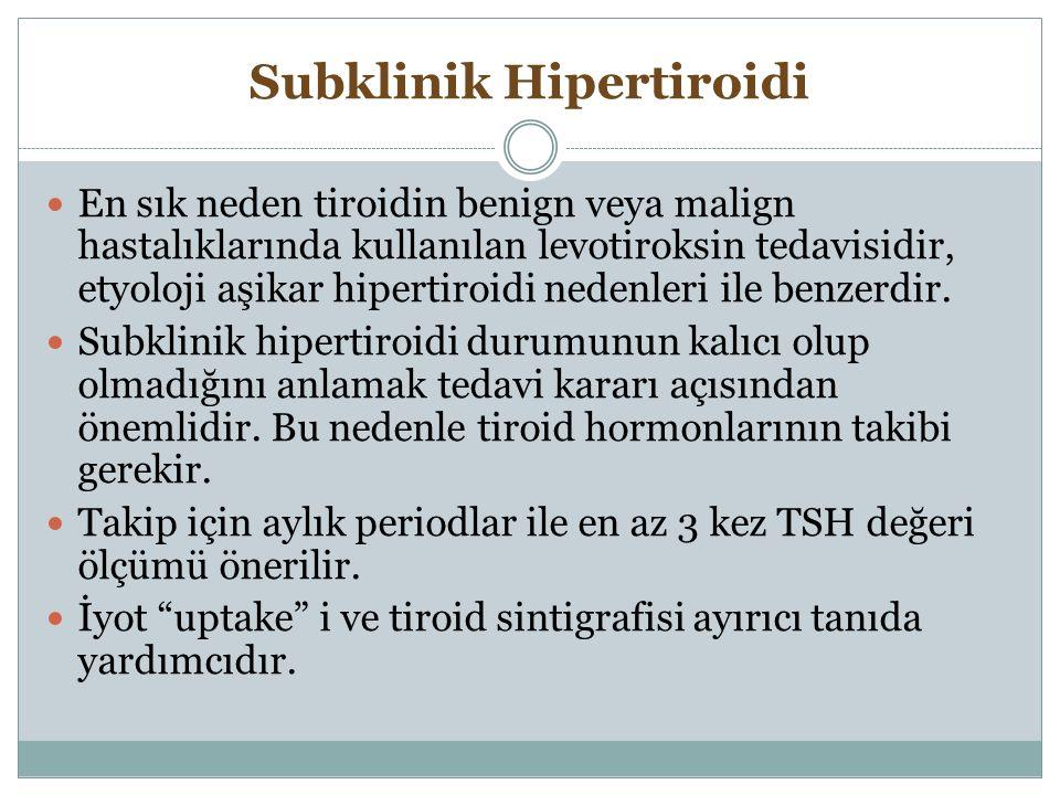 Subklinik Hipertiroidi En sık neden tiroidin benign veya malign hastalıklarında kullanılan levotiroksin tedavisidir, etyoloji aşikar hipertiroidi nede