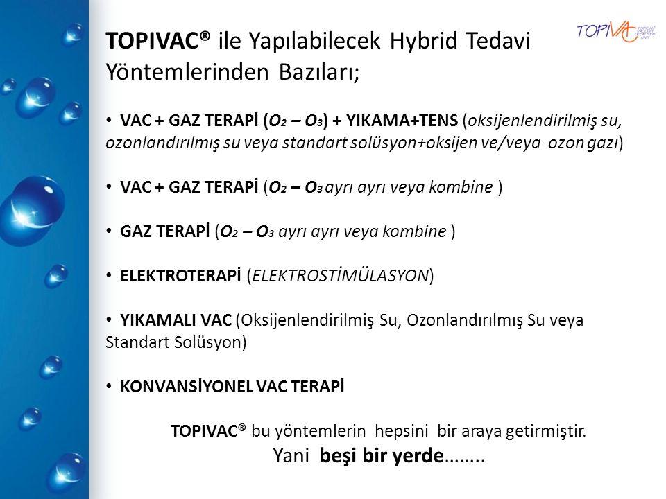 TOPIVAC® ile Yapılabilecek Hybrid Tedavi Yöntemlerinden Bazıları; VAC + GAZ TERAPİ (O 2 – O 3 ) + YIKAMA+TENS (oksijenlendirilmiş su, ozonlandırılmış