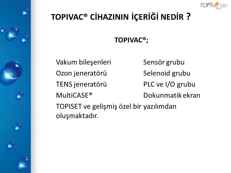 TOPIVAC® CİHAZININ İÇERİĞİ NEDİR ? TOPIVAC®; Vakum bileşenleri Ozon jeneratörü TENS jeneratörü MultiCASE® TOPISET ve gelişmiş özel bir yazılımdan oluş