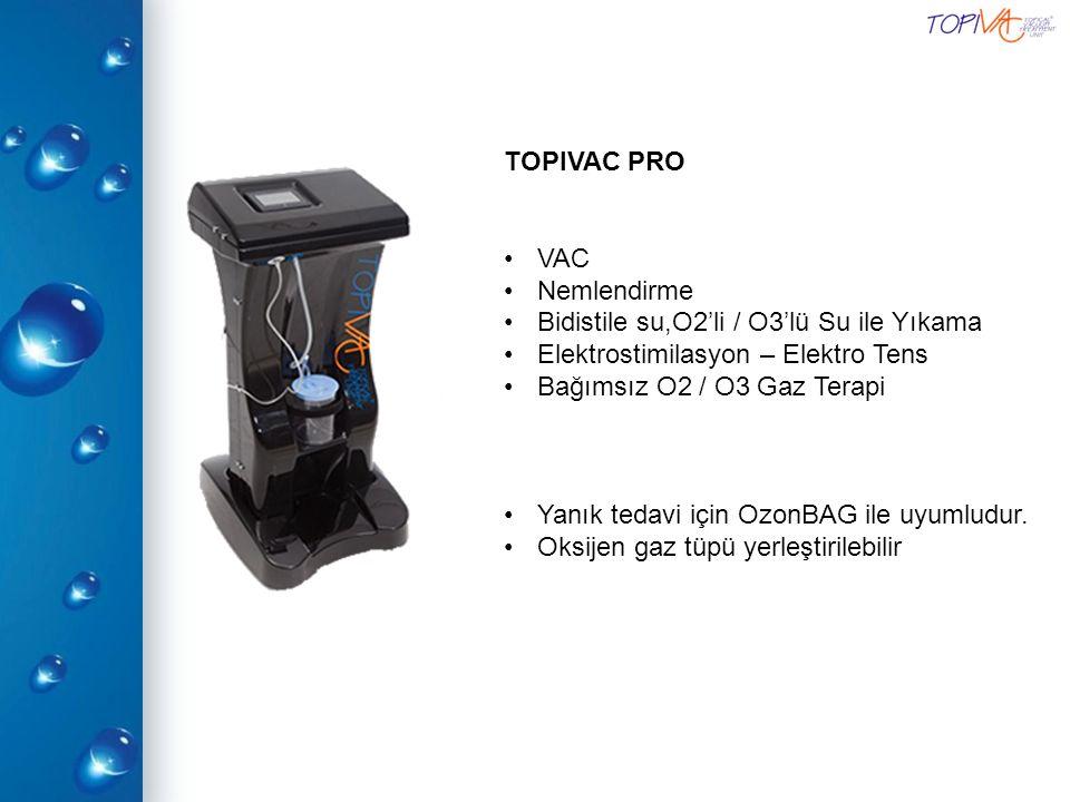 TOPIVAC PRO VAC Nemlendirme Bidistile su,O2'li / O3'lü Su ile Yıkama Elektrostimilasyon – Elektro Tens Bağımsız O2 / O3 Gaz Terapi Yanık tedavi için O
