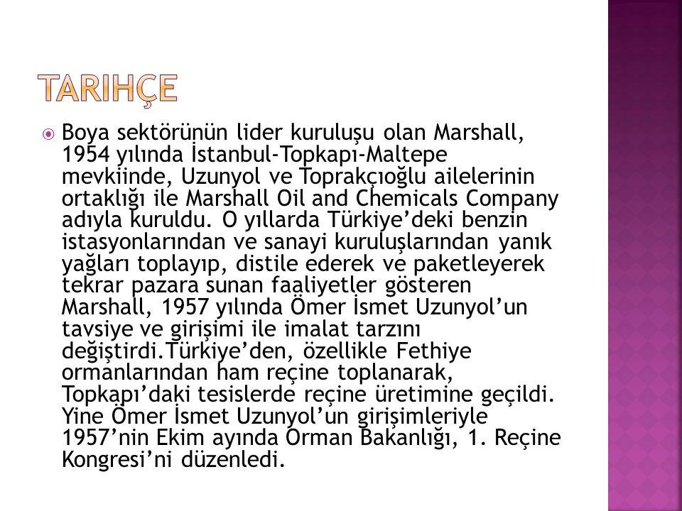  Boya sektörünün lider kuruluşu olan Marshall, 1954 yılında İstanbul-Topkapı-Maltepe mevkiinde, Uzunyol ve Toprakçıoğlu ailelerinin ortaklığı ile Marshall Oil and Chemicals Company adıyla kuruldu.