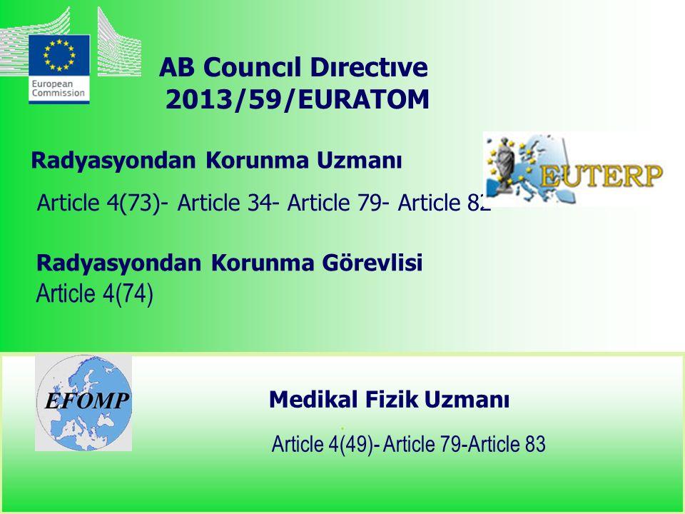 . Article 4(73)- Article 34- Article 79- Article 82 Article 4(49)- Article 79-Article 83 Radyasyondan Korunma Uzmanı Medikal Fizik Uzmanı AB Councıl Dırectıve 2013/59/EURATOM Radyasyondan Korunma Görevlisi Article 4(74)