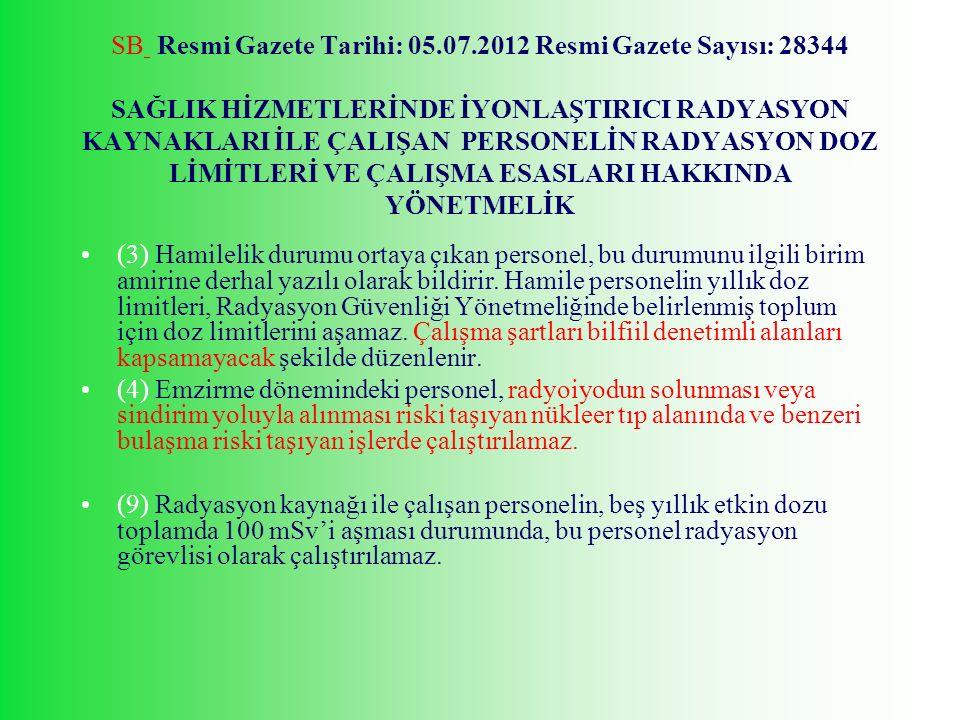 SB Resmi Gazete Tarihi: 05.07.2012 Resmi Gazete Sayısı: 28344 SAĞLIK HİZMETLERİNDE İYONLAŞTIRICI RADYASYON KAYNAKLARI İLE ÇALIŞAN PERSONELİN RADYASYON DOZ LİMİTLERİ VE ÇALIŞMA ESASLARI HAKKINDA YÖNETMELİK (3) Hamilelik durumu ortaya çıkan personel, bu durumunu ilgili birim amirine derhal yazılı olarak bildirir.