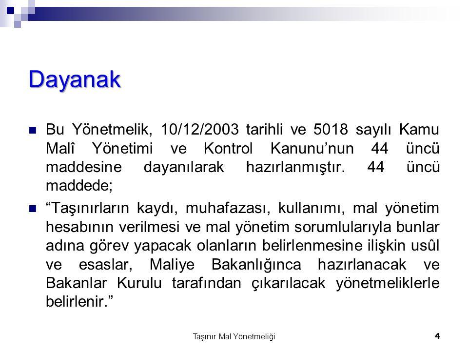 Dayanak Bu Yönetmelik, 10/12/2003 tarihli ve 5018 sayılı Kamu Malî Yönetimi ve Kontrol Kanunu'nun 44 üncü maddesine dayanılarak hazırlanmıştır. 44 ünc