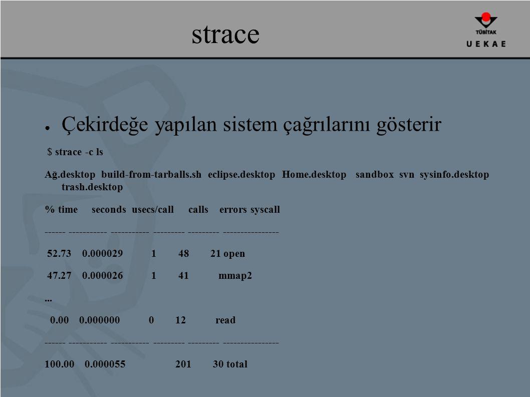 strace ● Çekirdeğe yapılan sistem çağrılarını gösterir $ strace -c ls Ağ.desktop build-from-tarballs.sh eclipse.desktop Home.desktop sandbox svn sysinfo.desktop trash.desktop % time seconds usecs/call calls errors syscall ------ ----------- ----------- --------- --------- ---------------- 52.73 0.000029 1 48 21 open 47.27 0.000026 1 41 mmap2...
