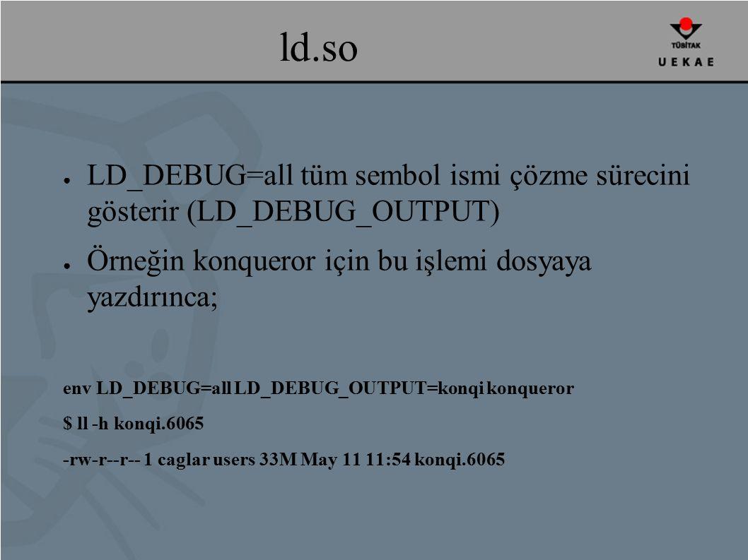 ld.so ● LD_DEBUG=all tüm sembol ismi çözme sürecini gösterir (LD_DEBUG_OUTPUT) ● Örneğin konqueror için bu işlemi dosyaya yazdırınca; env LD_DEBUG=all LD_DEBUG_OUTPUT=konqi konqueror $ ll -h konqi.6065 -rw-r--r-- 1 caglar users 33M May 11 11:54 konqi.6065