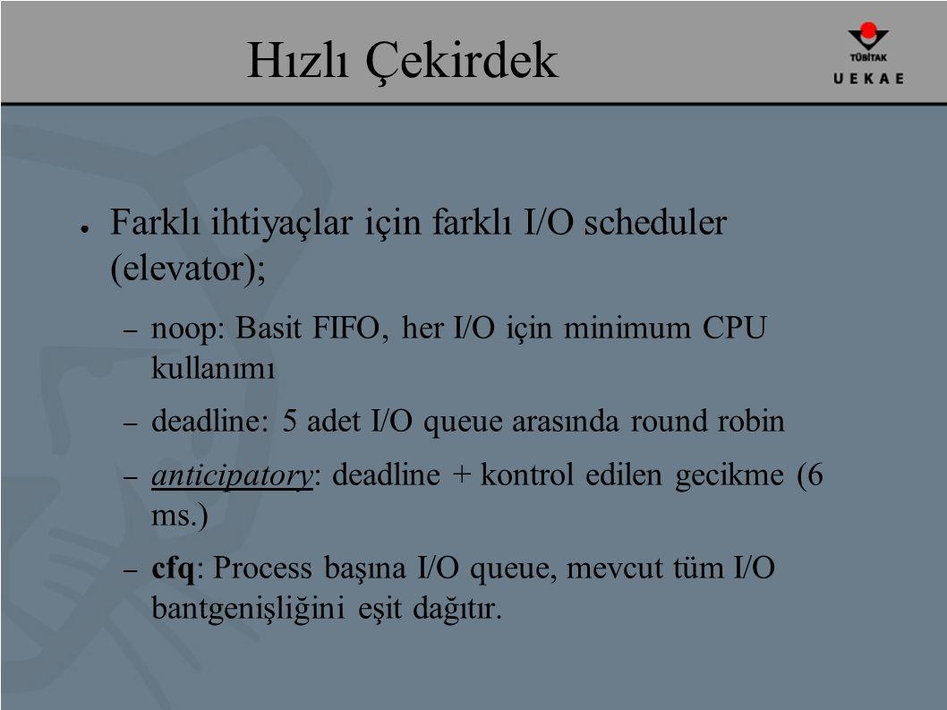 Hızlı Çekirdek ● Farklı ihtiyaçlar için farklı I/O scheduler (elevator); – noop: Basit FIFO, her I/O için minimum CPU kullanımı – deadline: 5 adet I/O queue arasında round robin – anticipatory: deadline + kontrol edilen gecikme (6 ms.) – cfq: Process başına I/O queue, mevcut tüm I/O bantgenişliğini eşit dağıtır.