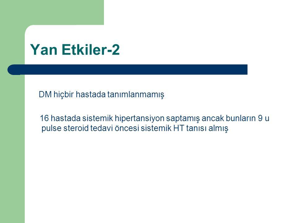 Yan Etkiler-2 DM hiçbir hastada tanımlanmamış 16 hastada sistemik hipertansiyon saptamış ancak bunların 9 u pulse steroid tedavi öncesi sistemik HT tanısı almış