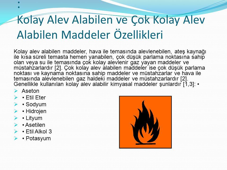 : Kolay Alev Alabilen ve Çok Kolay Alev Alabilen Maddeler Özellikleri Kolay alev alabilen maddeler, hava ile temasında alevlenebilen, ateş kaynağı ile
