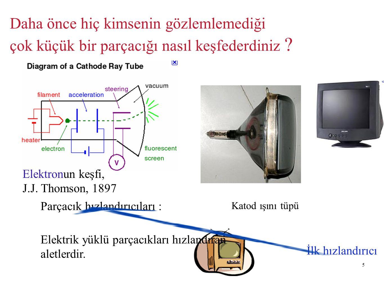 5 Daha önce hiç kimsenin gözlemlemediği çok küçük bir parçacığı nasıl keşfederdiniz ? Elektronun keşfi, J.J. Thomson, 1897 Katod ışını tüpü İlk hızlan