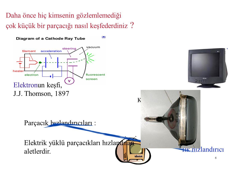 6 Daha önce hiç kimsenin gözlemlemediği çok küçük bir parçacığı nasıl keşfederdiniz ? Elektronun keşfi, J.J. Thomson, 1897 Katod ışını tüpü İlk hızlan