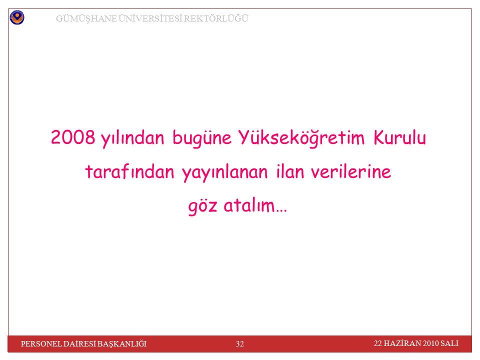 GÜMÜŞHANE ÜNİVERSİTESİ REKTÖRLÜĞÜ 22 HAZİRAN 2010 SALI 32 PERSONEL DAİRESİ BAŞKANLIĞI 2008 yılından bugüne Yükseköğretim Kurulu tarafından yayınlanan