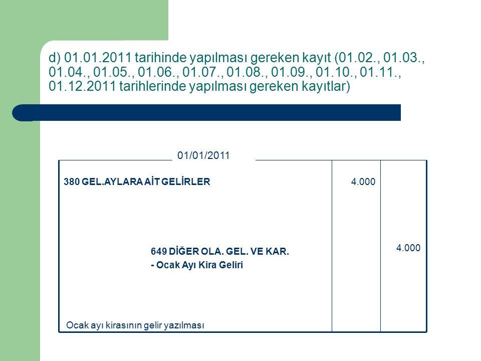 d) 01.01.2011 tarihinde yapılması gereken kayıt (01.02., 01.03., 01.04., 01.05., 01.06., 01.07., 01.08., 01.09., 01.10., 01.11., 01.12.2011 tarihlerinde yapılması gereken kayıtlar) Ocak ayı kirasının gelir yazılması 4.000 649 DİĞER OLA.