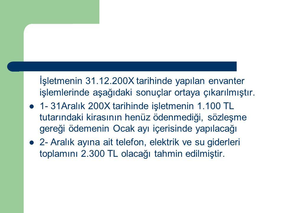 İşletmenin 31.12.200X tarihinde yapılan envanter işlemlerinde aşağıdaki sonuçlar ortaya çıkarılmıştır.