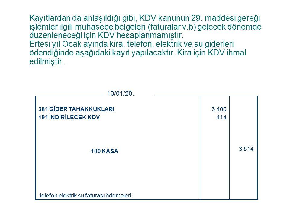 Kayıtlardan da anlaşıldığı gibi, KDV kanunun 29.