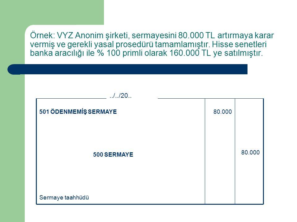 Örnek: VYZ Anonim şirketi, sermayesini 80.000 TL artırmaya karar vermiş ve gerekli yasal prosedürü tamamlamıştır.