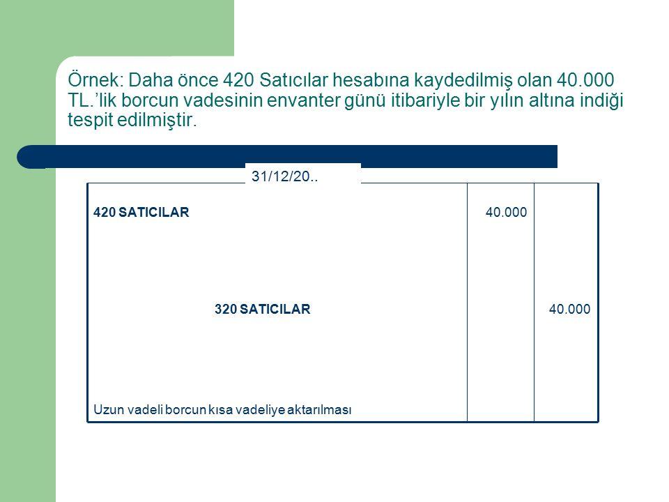 Örnek: Daha önce 420 Satıcılar hesabına kaydedilmiş olan 40.000 TL.'lik borcun vadesinin envanter günü itibariyle bir yılın altına indiği tespit edilmiştir.