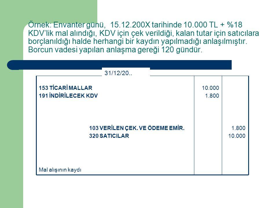 Örnek: Envanter günü, 15.12.200X tarihinde 10.000 TL + %18 KDV'lik mal alındığı, KDV için çek verildiği, kalan tutar için satıcılara borçlanıldığı halde herhangi bir kaydın yapılmadığı anlaşılmıştır.