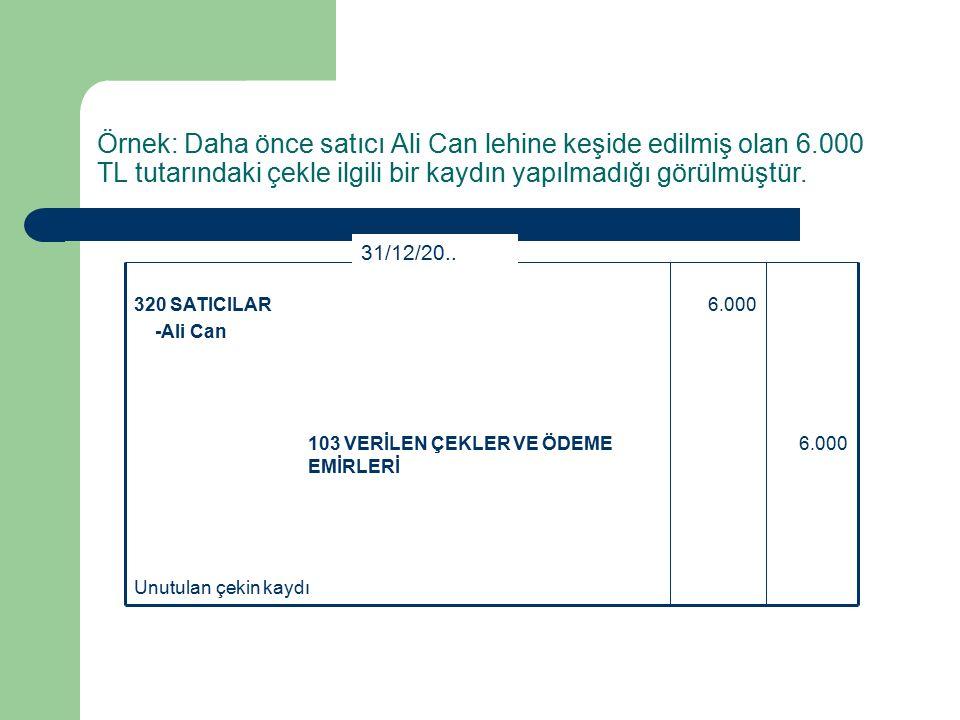 Örnek: Daha önce satıcı Ali Can lehine keşide edilmiş olan 6.000 TL tutarındaki çekle ilgili bir kaydın yapılmadığı görülmüştür.
