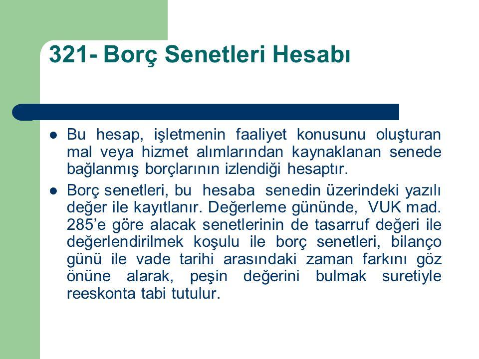 321- Borç Senetleri Hesabı Bu hesap, işletmenin faaliyet konusunu oluşturan mal veya hizmet alımlarından kaynaklanan senede bağlanmış borçlarının izlendiği hesaptır.