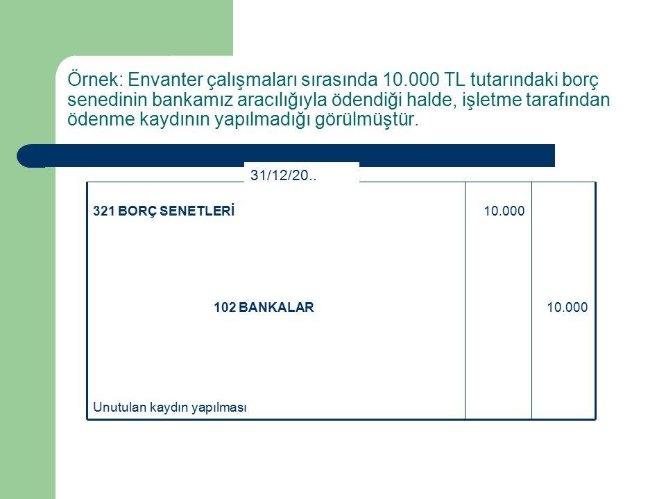 Örnek: Envanter çalışmaları sırasında 10.000 TL tutarındaki borç senedinin bankamız aracılığıyla ödendiği halde, işletme tarafından ödenme kaydının yapılmadığı görülmüştür.