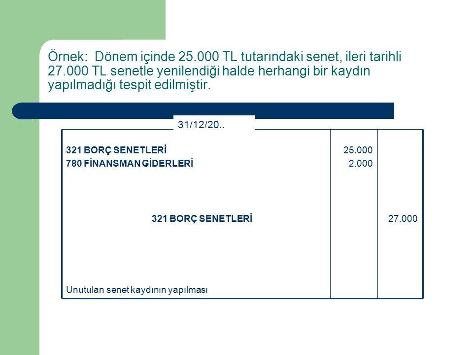 Örnek: Dönem içinde 25.000 TL tutarındaki senet, ileri tarihli 27.000 TL senetle yenilendiği halde herhangi bir kaydın yapılmadığı tespit edilmiştir.
