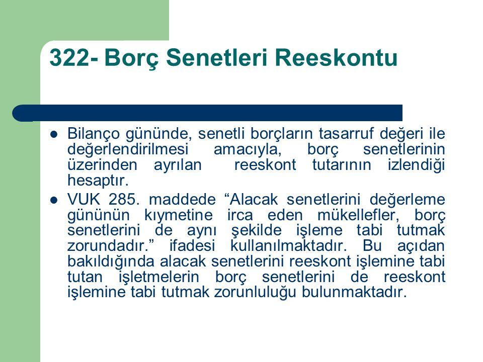 322- Borç Senetleri Reeskontu Bilanço gününde, senetli borçların tasarruf değeri ile değerlendirilmesi amacıyla, borç senetlerinin üzerinden ayrılan reeskont tutarının izlendiği hesaptır.