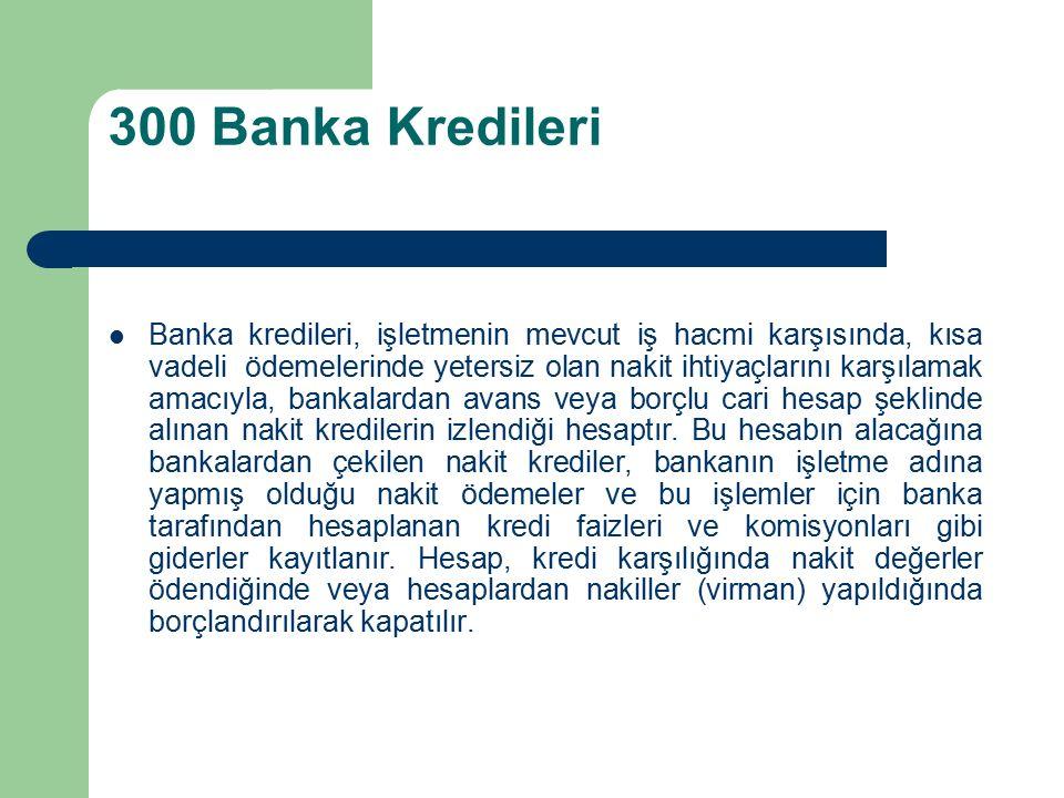 300 Banka Kredileri Banka kredileri, işletmenin mevcut iş hacmi karşısında, kısa vadeli ödemelerinde yetersiz olan nakit ihtiyaçlarını karşılamak amacıyla, bankalardan avans veya borçlu cari hesap şeklinde alınan nakit kredilerin izlendiği hesaptır.