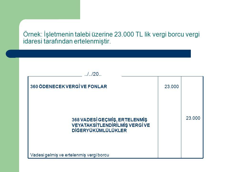 Örnek: İşletmenin talebi üzerine 23.000 TL lik vergi borcu vergi idaresi tarafından ertelenmiştir.