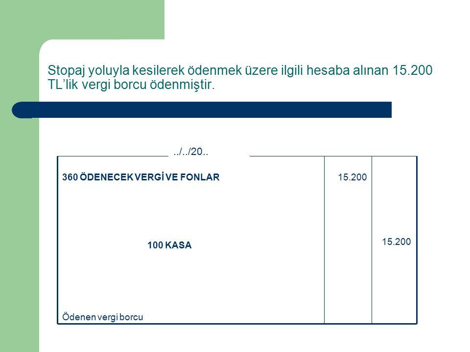 Stopaj yoluyla kesilerek ödenmek üzere ilgili hesaba alınan 15.200 TL'lik vergi borcu ödenmiştir.