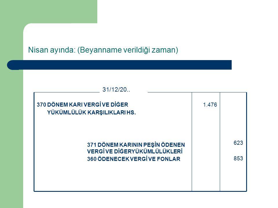 Nisan ayında: (Beyanname verildiği zaman) 623 853 371 DÖNEM KARININ PEŞİN ÖDENEN VERGİ VE DİĞERYÜKÜMLÜLÜKLERİ 360 ÖDENECEK VERGİ VE FONLAR 1.476370 DÖNEM KARI VERGİ VE DİĞER YÜKÜMLÜLÜK KARŞILIKLARI HS.