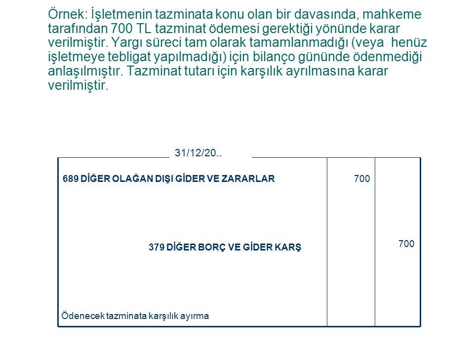 Örnek: İşletmenin tazminata konu olan bir davasında, mahkeme tarafından 700 TL tazminat ödemesi gerektiği yönünde karar verilmiştir.