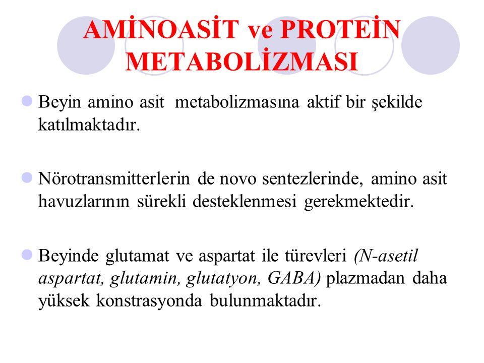 AMİNOASİT ve PROTEİN METABOLİZMASI Beyin amino asit metabolizmasına aktif bir şekilde katılmaktadır. Nörotransmitterlerin de novo sentezlerinde, amino