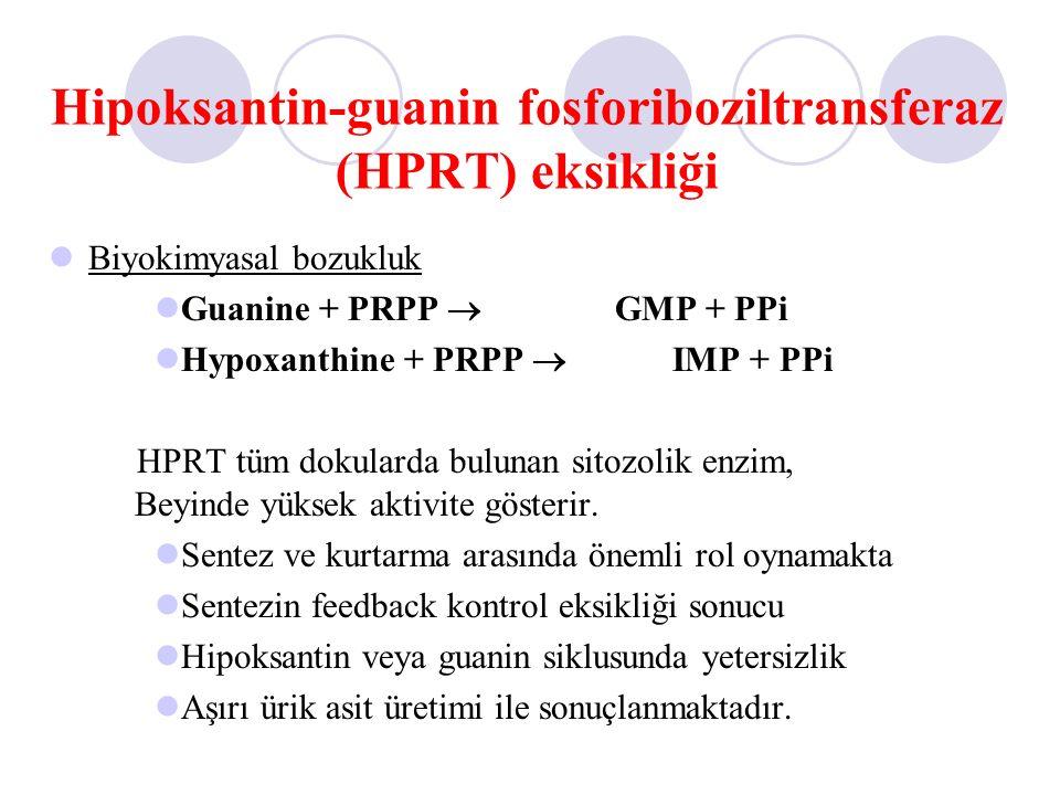 Hipoksantin-guanin fosforiboziltransferaz (HPRT) eksikliği Biyokimyasal bozukluk Guanine + PRPP  GMP + PPi Hypoxanthine + PRPP  IMP + PPi HPRT tüm d