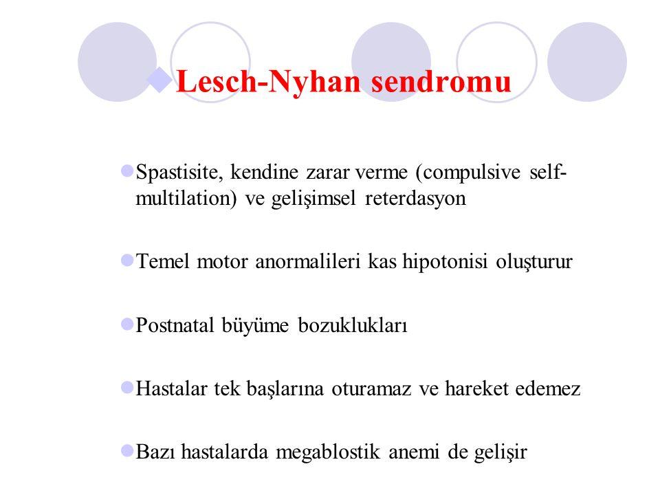 Spastisite, kendine zarar verme (compulsive self- multilation) ve gelişimsel reterdasyon Temel motor anormalileri kas hipotonisi oluşturur Postnatal b
