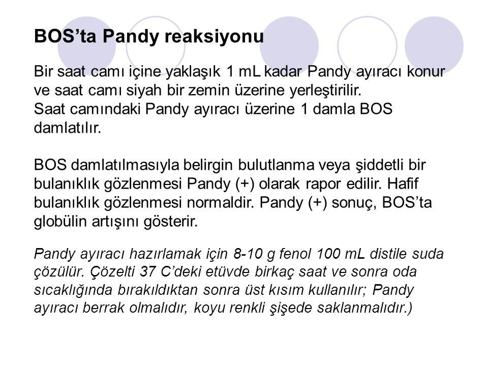 BOS'ta Pandy reaksiyonu Bir saat camı içine yaklaşık 1 mL kadar Pandy ayıracı konur ve saat camı siyah bir zemin üzerine yerleştirilir. Saat camındaki