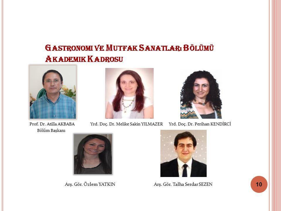 G ASTRONOMI VE M UTFAK S ANATLAR ı B ÖLÜMÜ A KADEMIK K ADROSU Prof.