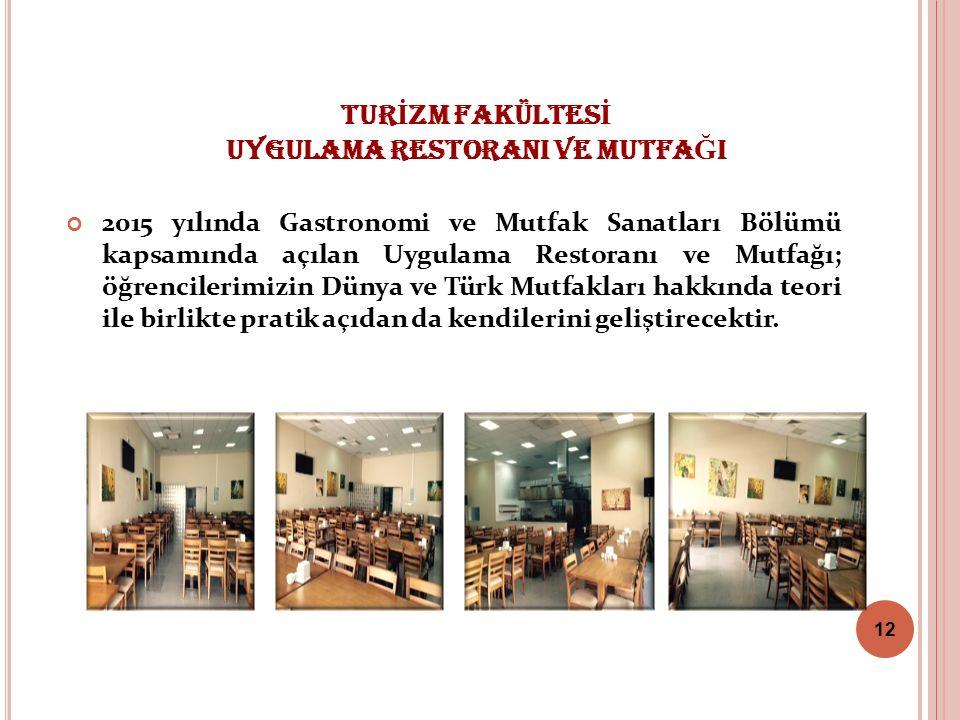 TUR İ ZM FAKÜLTES İ UYGULAMA RESTORANI VE MUTFA Ğ I 2015 yılında Gastronomi ve Mutfak Sanatları Bölümü kapsamında açılan Uygulama Restoranı ve Mutfağı