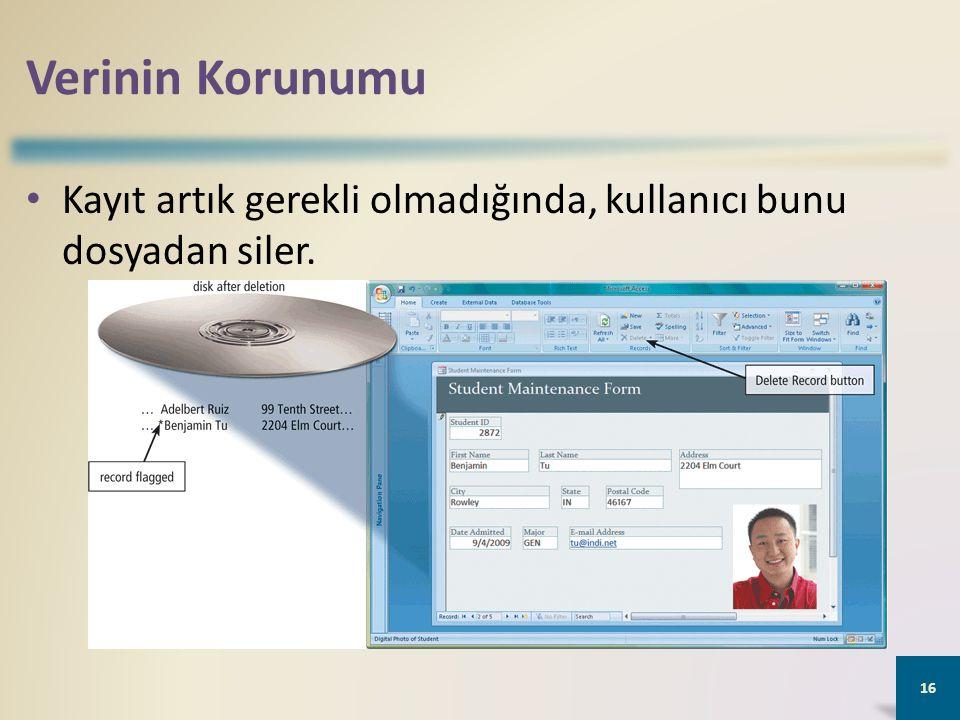 Verinin Korunumu Kayıt artık gerekli olmadığında, kullanıcı bunu dosyadan siler. 16