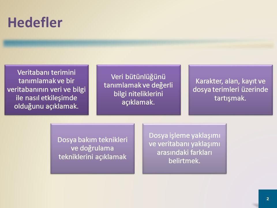 Verinin Korunumu Dosya bakımı, veriyi güncel tutma prosedürlerini ifade eder.